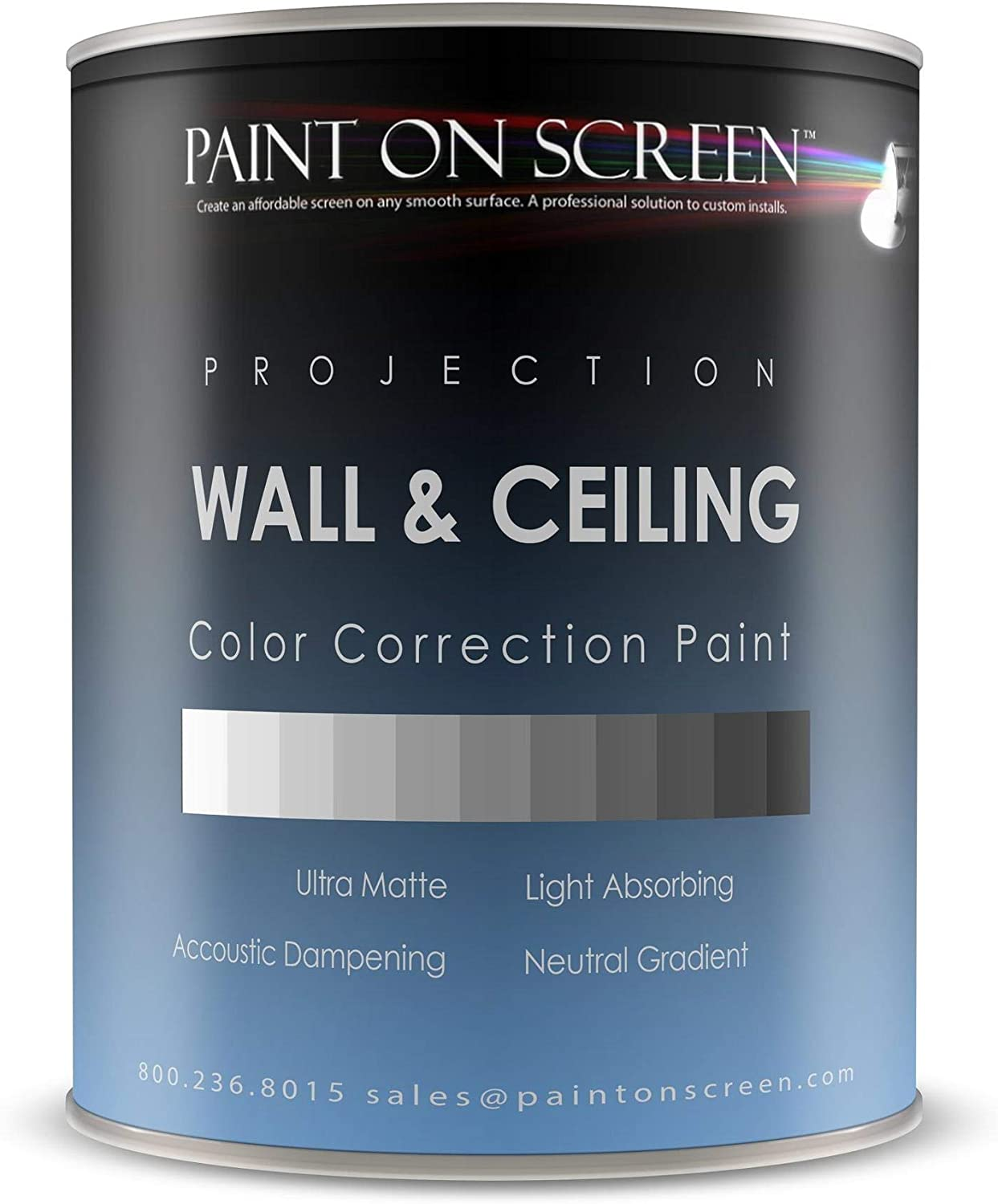 Projector Screen Paint - Wall/Ceiling Ambient Light Rejecting Acoustic Dampening -Studio Grey-Gallon