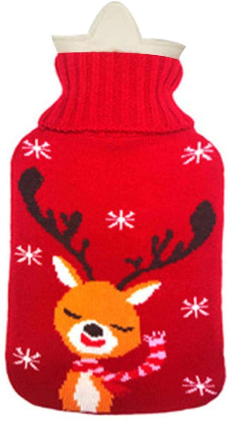Hot Water Bottle, PVC Water Bag with Knit Cover Heat Up Keep Warm in Winter Suitable for Heat Therapy Christmas/Birthday Gift