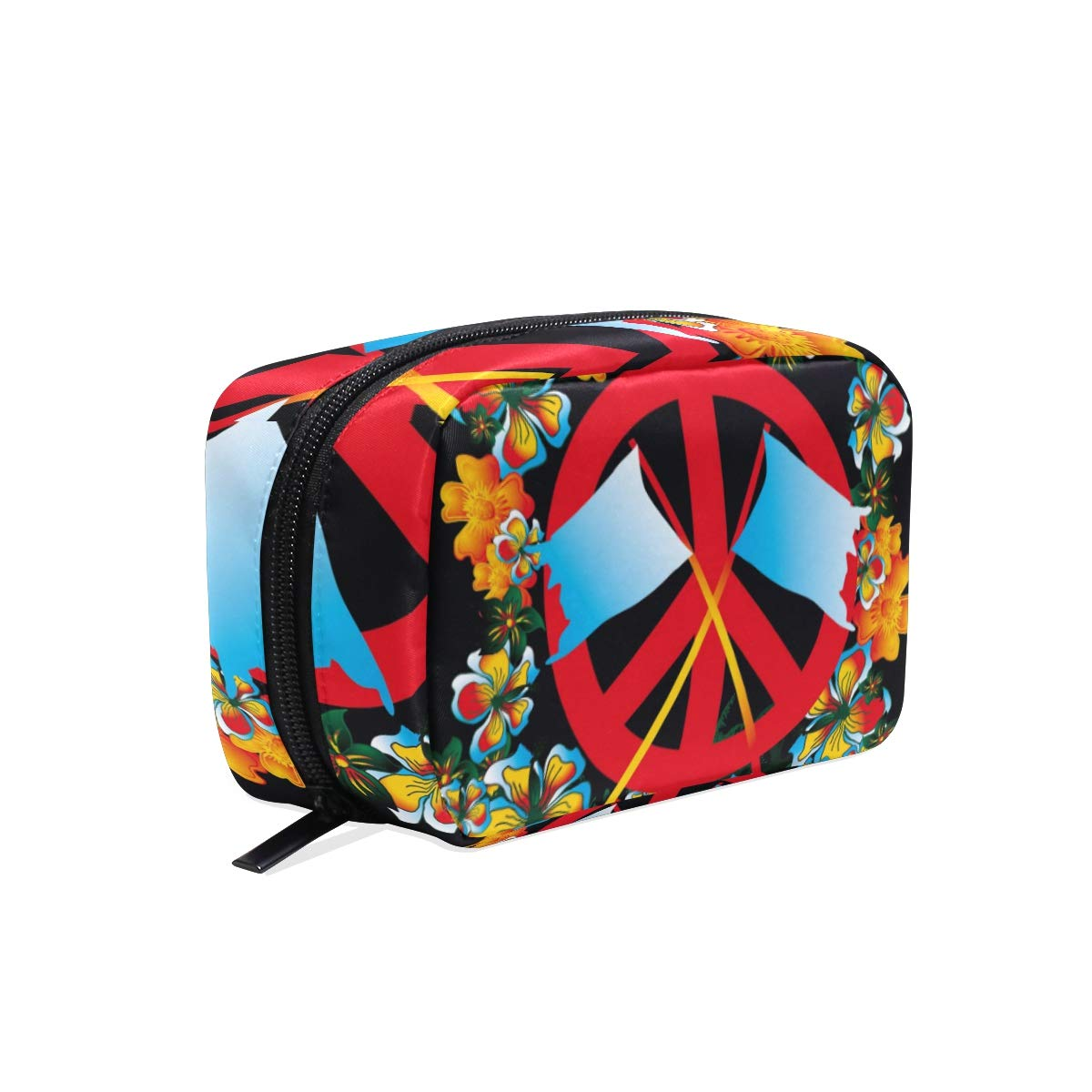 Makeup Bag Portable Travel Cosmetic Flower And Peace Train Case Toiletry Bag Organizer Accessories Case Tools Case for Beauty Women