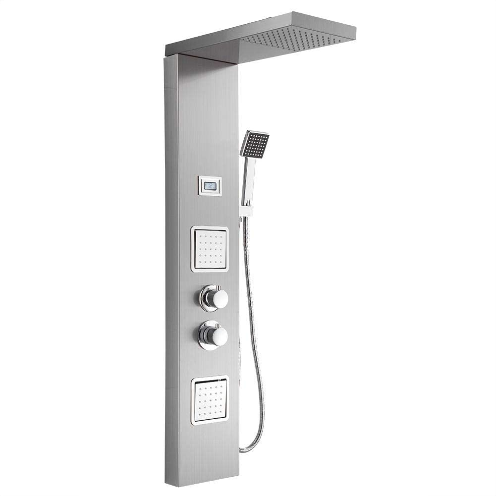 POCREATION Waterfall Shower Panel, Stainless Steel Wall Mount Rainfall Shower Panel with Shower Head Massage System Body Jets & Hand Shower Bathroom Shower Tower System (Silver Style3)