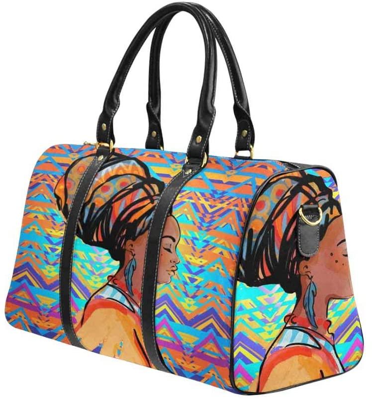 InterestPrint Travel Duffel Bag Waterproof Overnight Bag Weekend Carryon Handbag African Woman