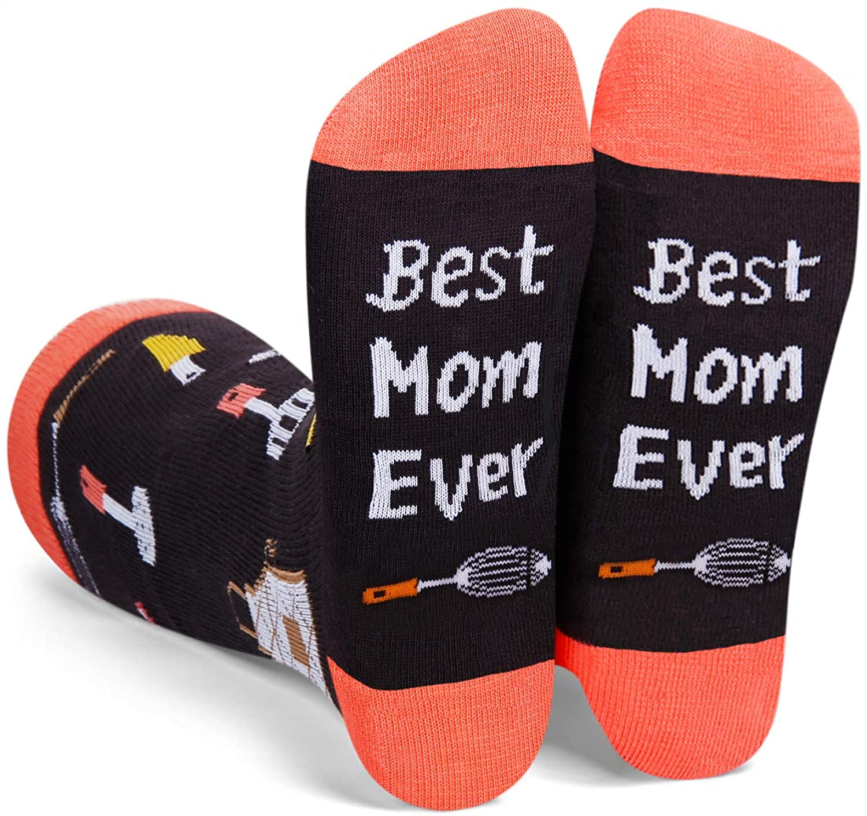 HAPPYPOP Women Girls Christmas Birthday Best Mom Halloween Holiday Socks, Funny Gift for Mom