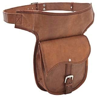 Hand-Crafted Leather Hip Belt Bag Brown Solid Multi-Compartment