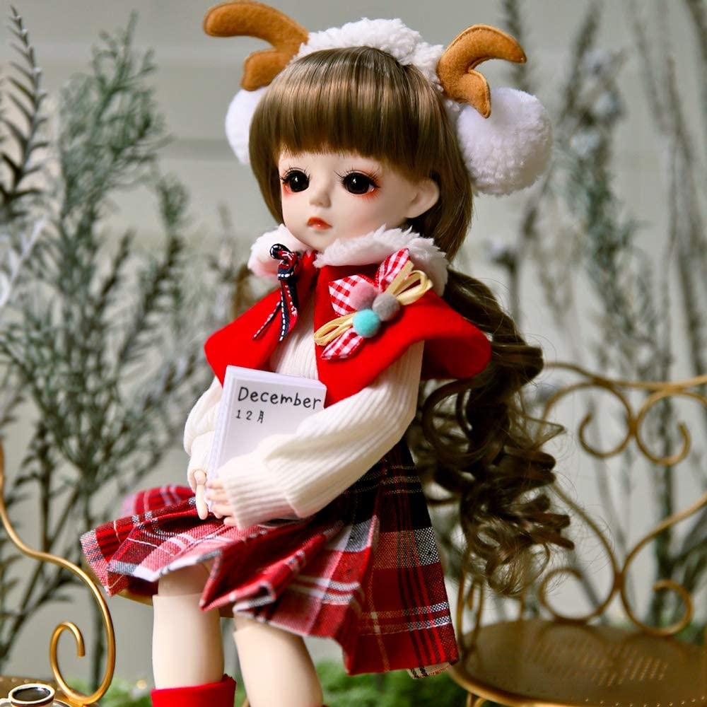 UCanaan BJD Doll 1/6 SD Dolls 12 Inch 18 Ball Jointed Doll DIY Toys with Full Set Clothes Shoes Wig Makeup for Girls-Mia