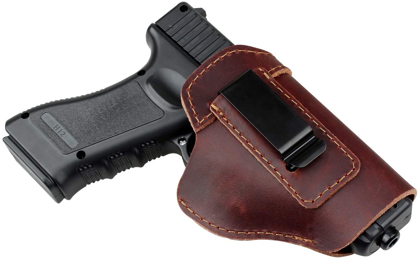 Phrmovs Leather IWB Holsters for Concealed Carry | Inside The Waistband | Right Hand | Fits for Glock 17 19 26 43, S&W, M&P Shield 9mm 40 and 45, Sprinfield XD/XDS/XDM,Sig Sauer Mosquito/P220 P226
