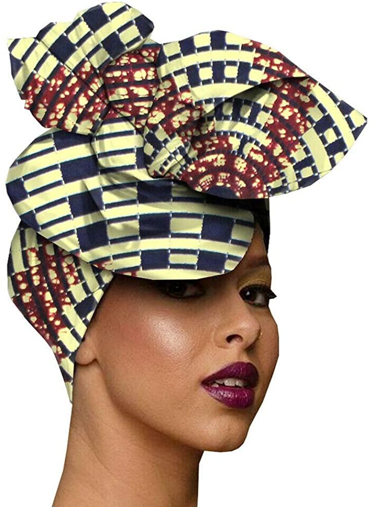 Xingsiyue African Wax Print Head Wrap Ankara Bandana Hijab Nigerian Turban Headtie Cotton Head Scraf for Women