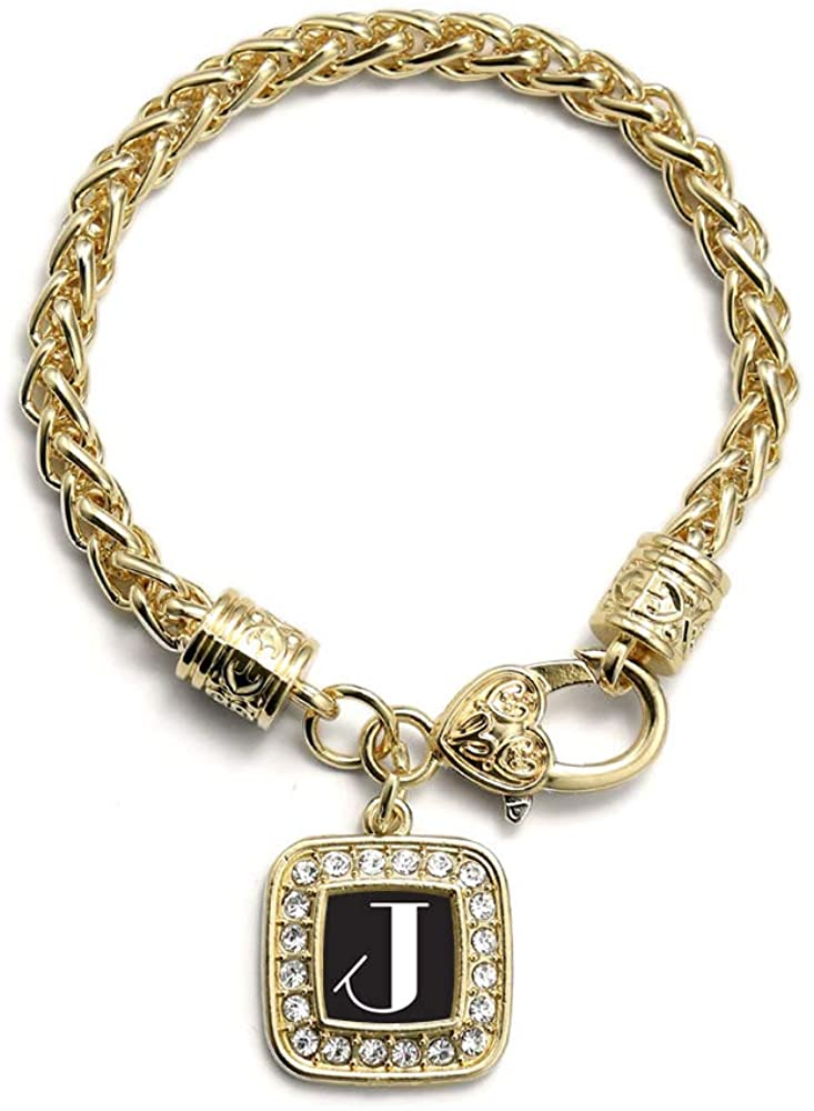 Inspired Silver - Gold Square Charm Bracelet with Cubic Zirconia Jewelry