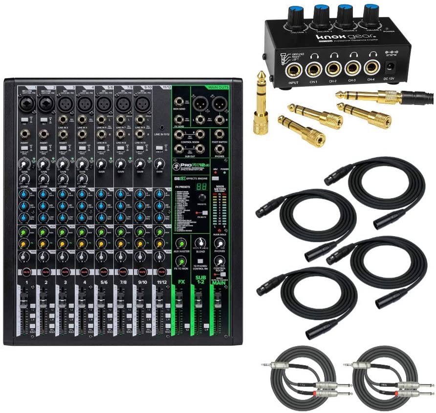 Mackie ProFX12v3 12-Channel Mixer with Knox Headphone Amp, 4 XLR Cables, and 2 Breakout Cables Bundle (8 Items)