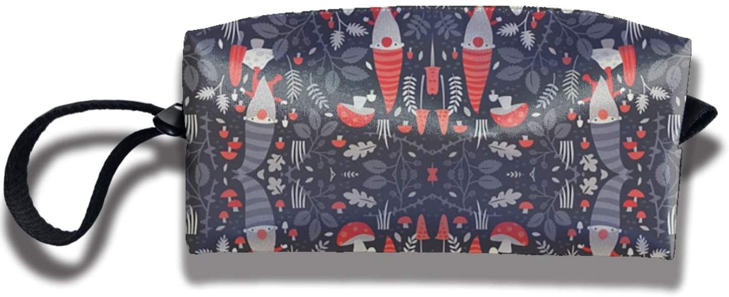 antkondnm Nordic Gnomes Travel Cosmetic Bag Organizer Coin Purse Pencil Case Portable Receive Bag