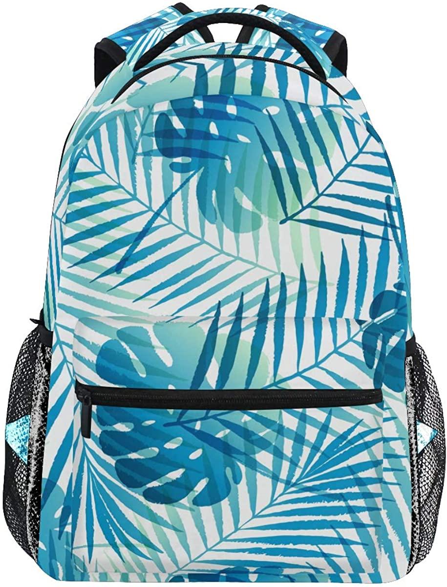 School Backpack Tropical Leaves Bookbag for Boys Girls Teens Casual Travel Bag Computer Laptop Daypack