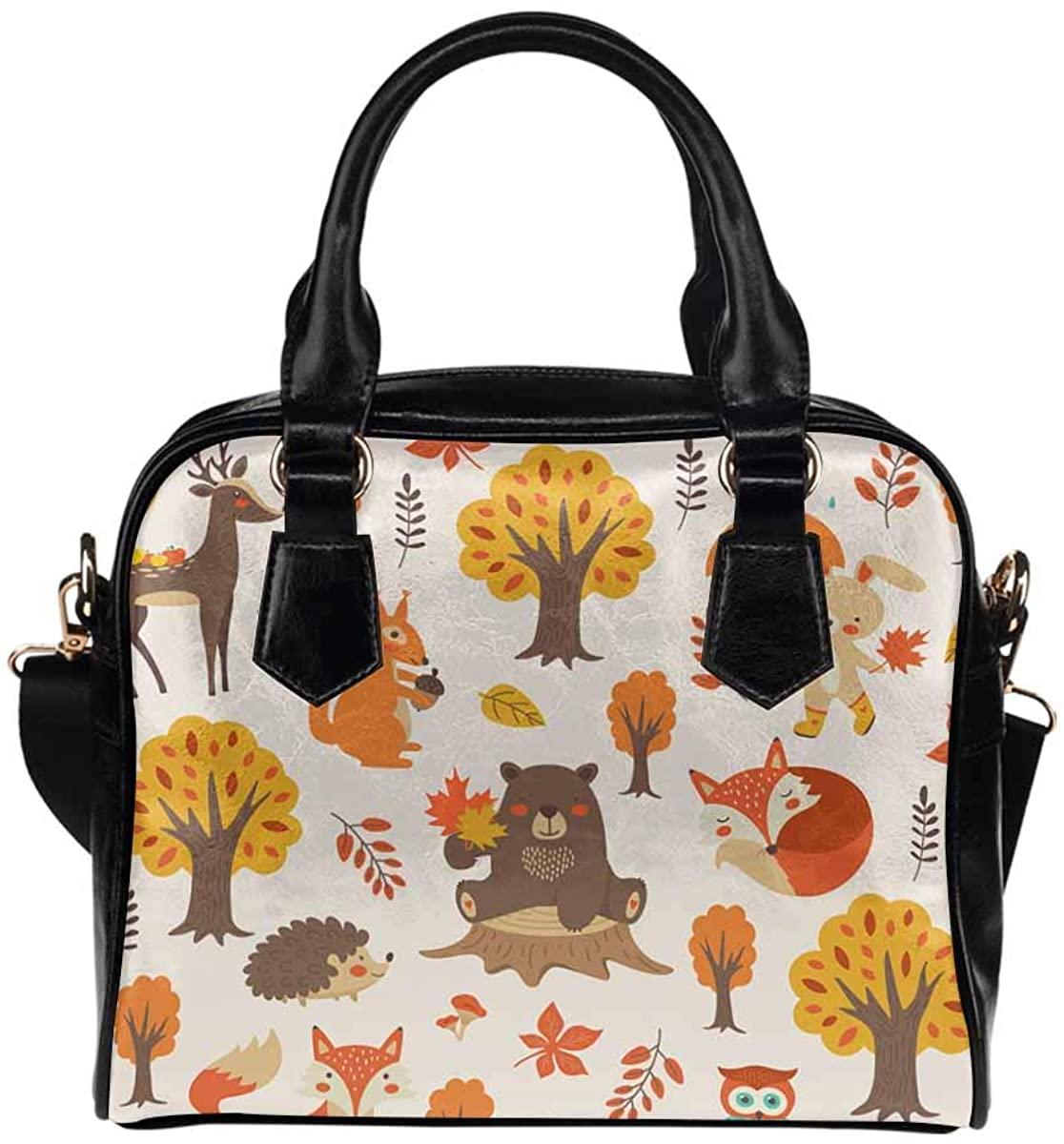 INTERESTPRINT Bear, Fox, Squirrel, Owl Deer PU Leather Lady Purses and Handbags