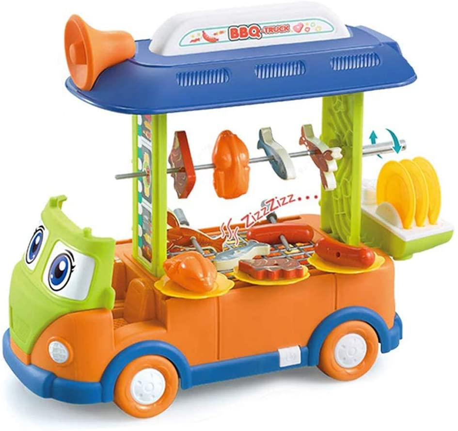 23PCS Toy Bus Set Pretend Play BBQ Truck Food Car Educational Learning Toy for Kids Boys Girls