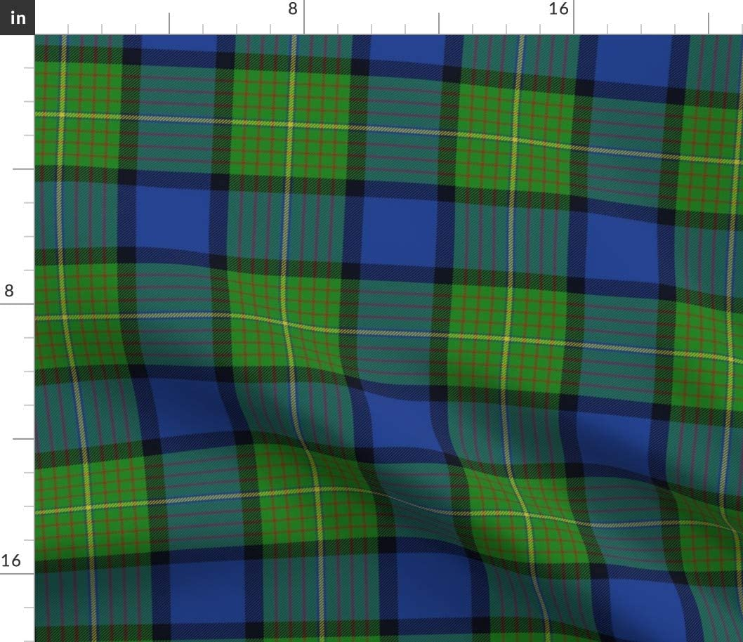 Spoonflower Fabric - Tartan Scottish Plaid Green Printed on Petal Signature Cotton Fabric by The Yard - Sewing Quilting Apparel Crafts Decor