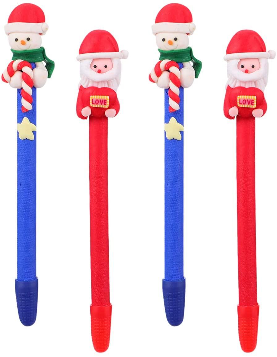 Hemoton 4pcs Christmas Gel Ink Pen Novelty Rollerball Pens for School Boys Girls Office Supplies Writing Pen Xmas Party Favors Style 1