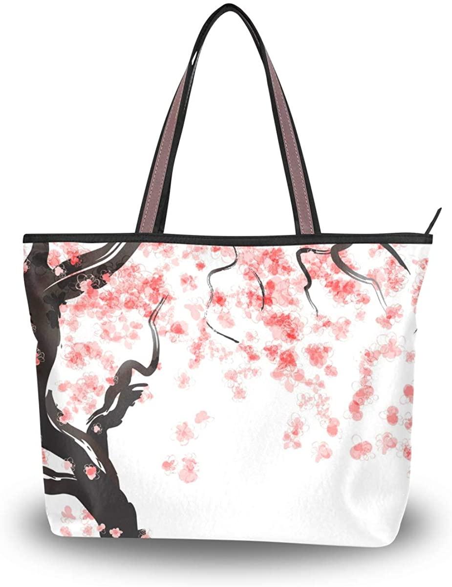 Woman Tote Bag Japanese Cherry Tree Blossom Shoulder Handbag for Work Travel Business Beach Shopping School