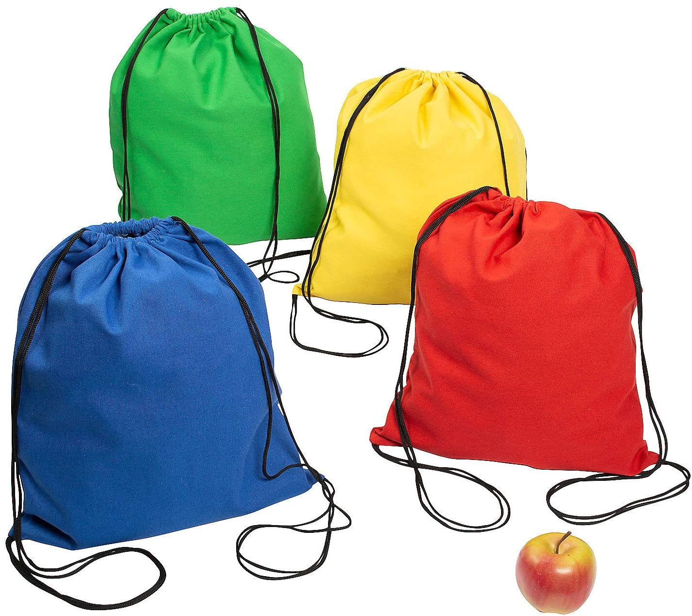 Large Bright Canvas Drawstring Bags - Set of 12 - Reusable Apparel Accessories