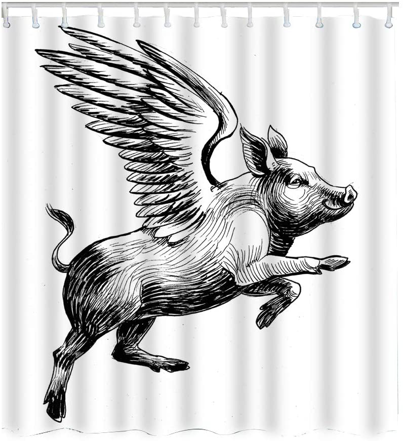 Moslion Pig Shower Curtain Set Black White Ink Vintage Flying Piggy Wings to The Skyv Shower Curtains Home Decorative Waterproof Polyester Fabric Hooks 72x72 Inch
