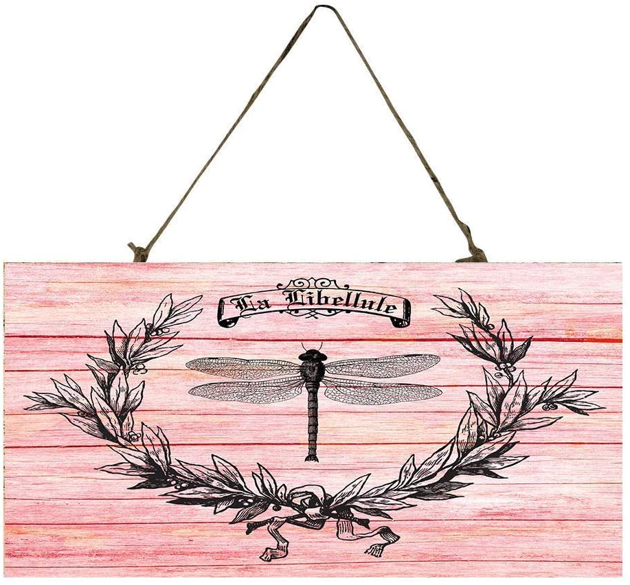 Audreyo Pink Dragonfly Wood Sign Gift Decoration for Home Office Hotel and Bar 12.5 x 25 cm