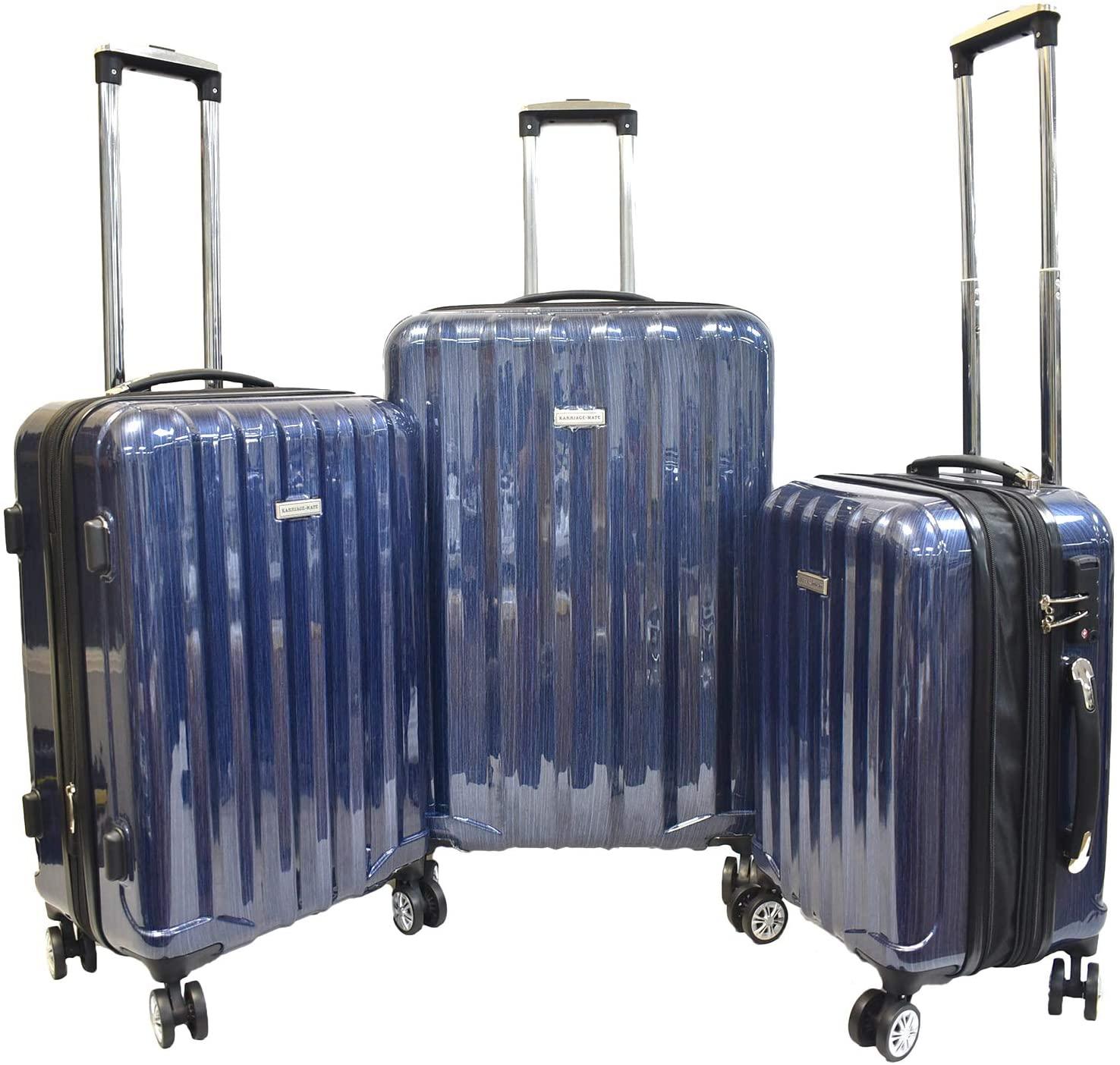 Karriage-Mate Hardside Expandable Luggage with Spinner Wheels, TSA Lock (Blue)