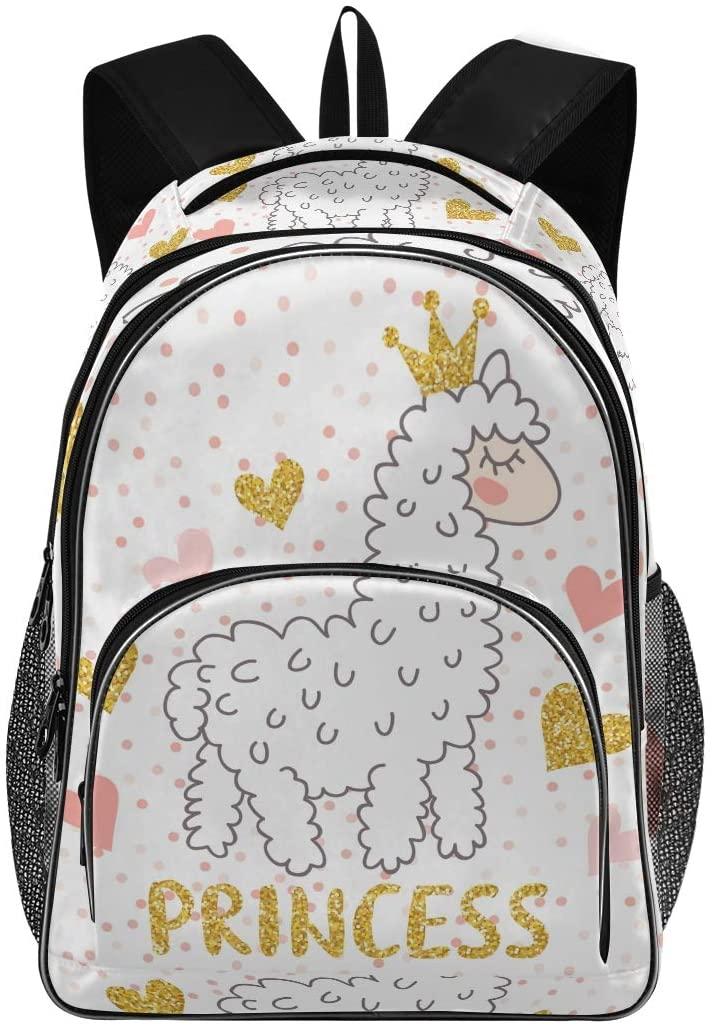OREZI Schoolbag for Girls Boys,Cute Cartoon Llama Alpaca Backpack Bookbags Travel Bag Casual Daypack Rucksack for Student Teenagers kids
