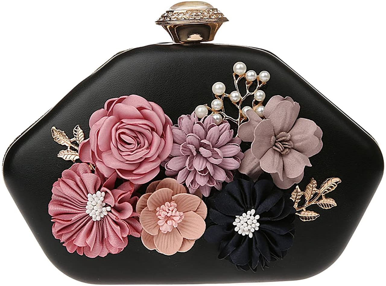 Ankoee Women Clutches Purses Flower Evening Hand Bag Clutch Pearl Beaded Wallet Mini Handbags