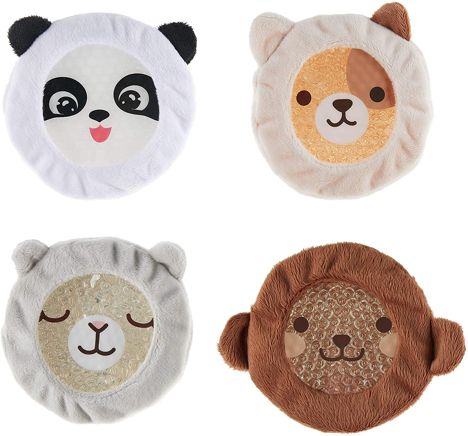 INDIGO CHILD : Premium Dual Action Hot or Cold Gel Packs | 4 Pack | Soft Plush Fabric Sleeves |Our AdorableZoo Animals Design | Durable Gel Bead Wrap