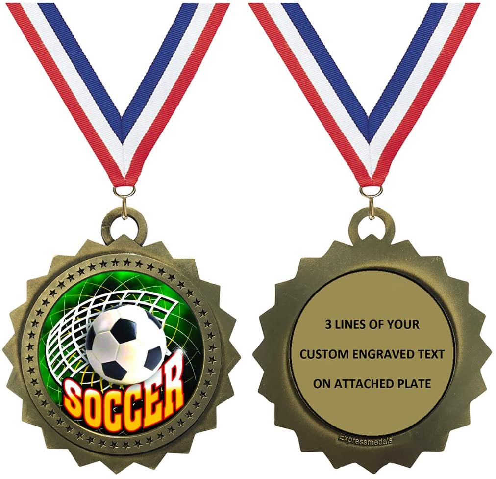 1 to 50 Packs Soccer Gold Large 3 Inch Engraved Medals Trophy Award Personalized Free D03-FCL543
