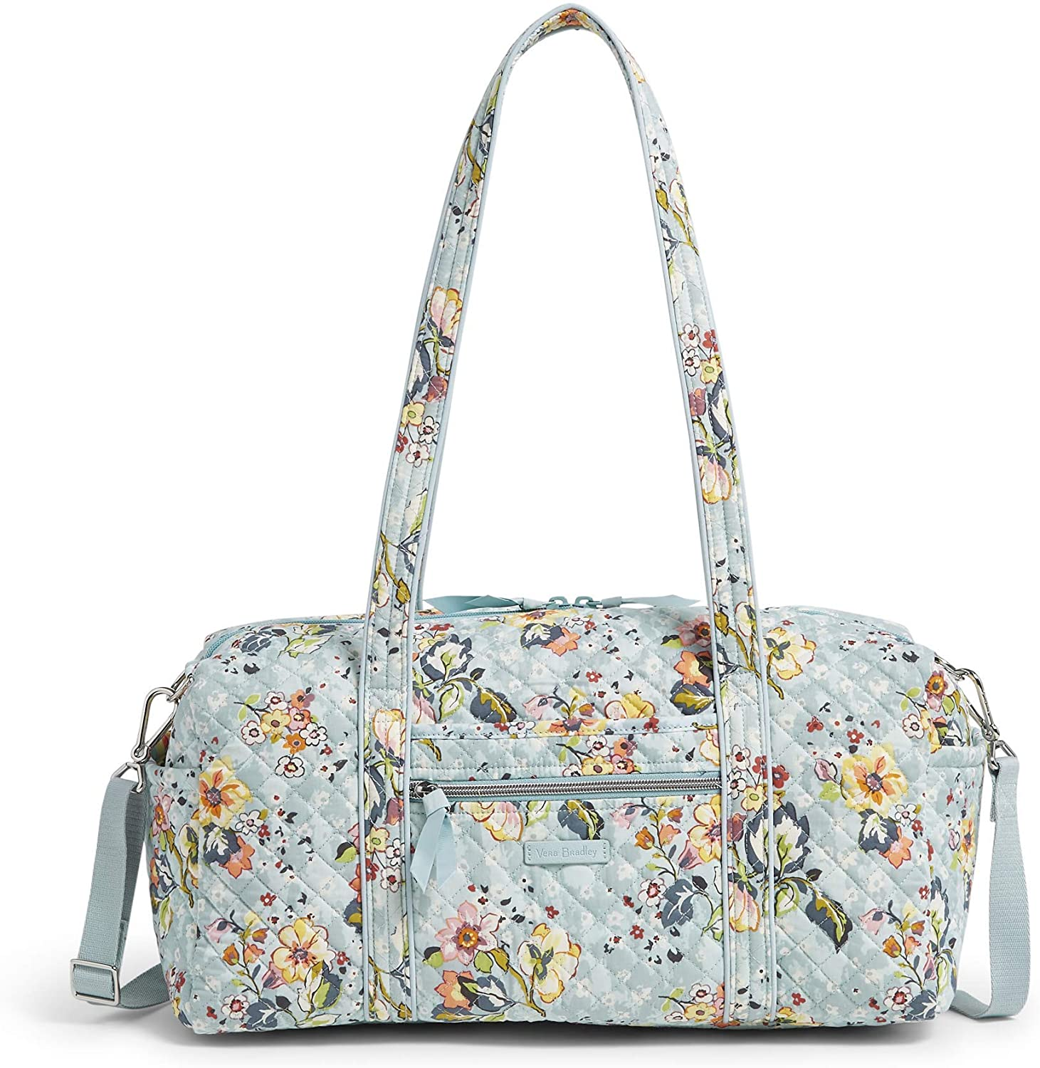 Vera Bradley Women's Signature Cotton Travel Duffel Bag, Floating Garden, Small 18