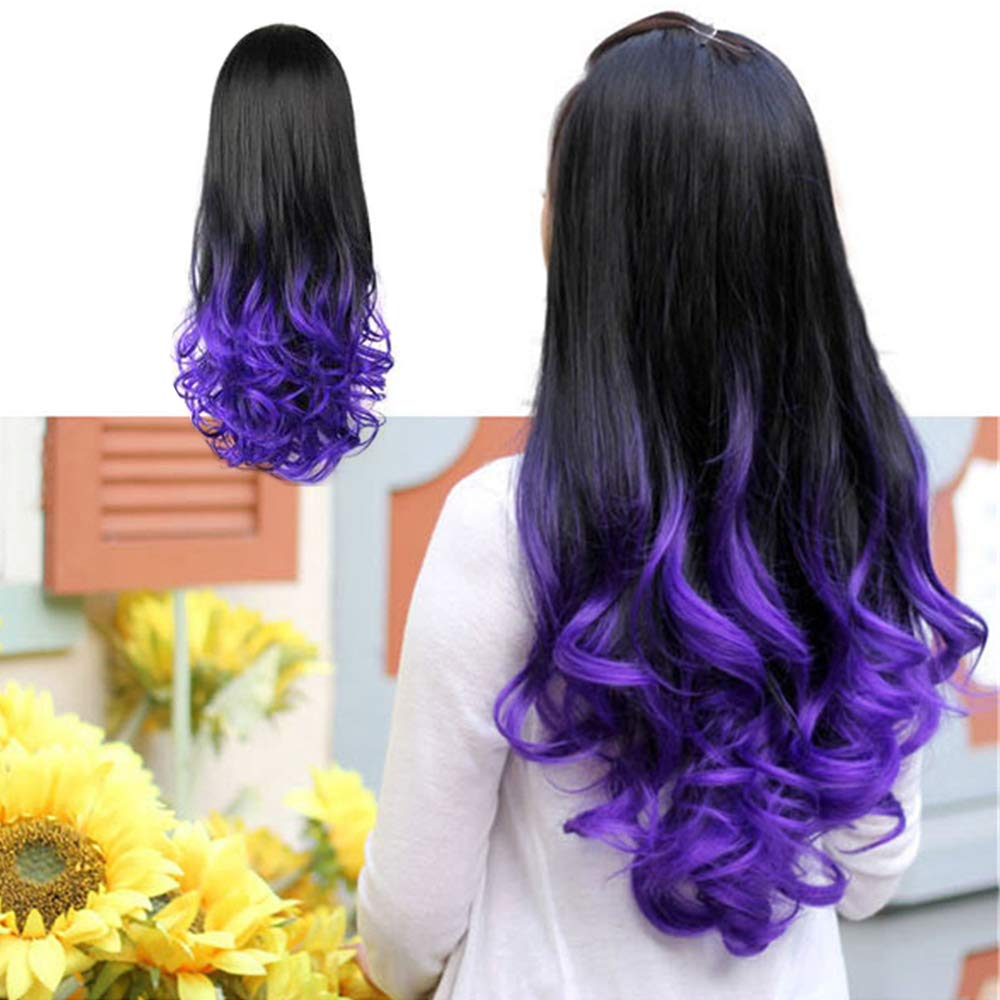 3/4 Full Head Wig Long Ombre Curly Wavy 26 Inches Half Wigs Heat Resistant Synthetic Hair High Density for Women(Violet, 26 Inch)