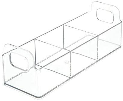 ART OF FIRE Plastic Kitchen Tea Bag Organizer Storage Caddy Holder, 4 Pack - Clear