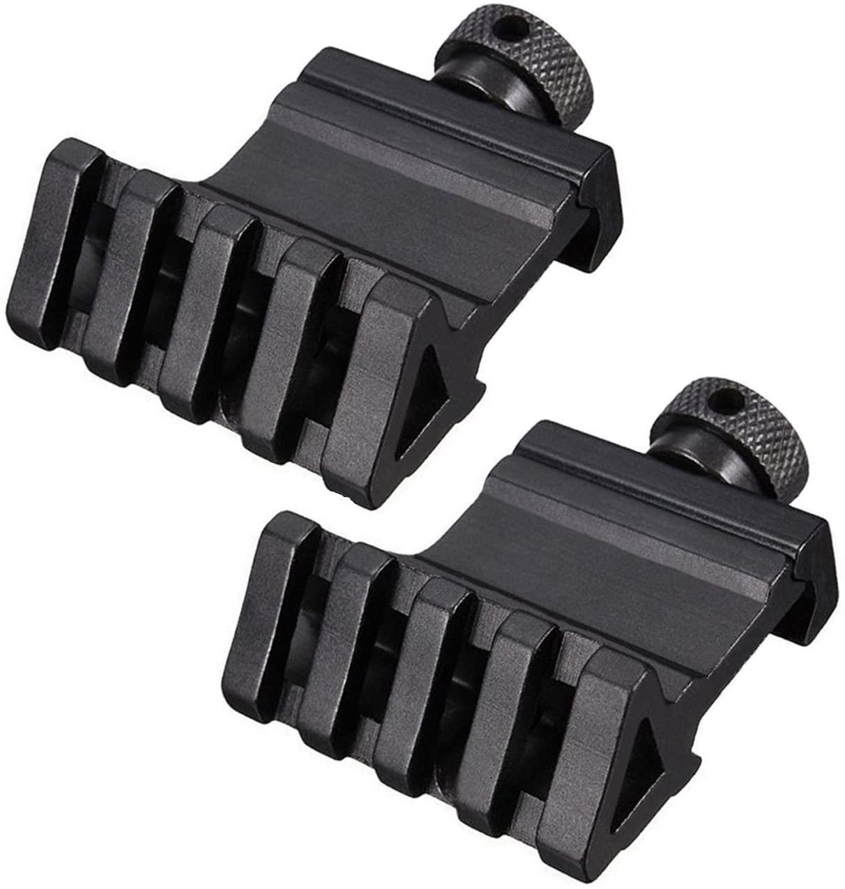 HooGou 2 Pcs 45 Degree 20mm 4 Slots Offset Angle Rail Mount Picatinny Weaver Style for Mounting Flashlight Sight Black 2 Pack