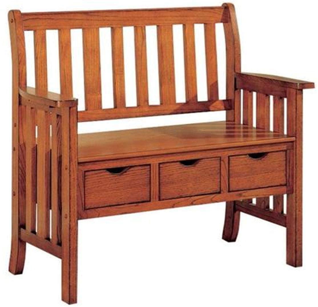 Coaster Home Furnishings 3-Drawer Storage Bench, Warm Brown