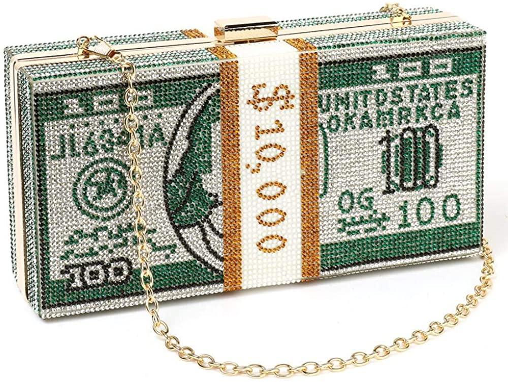 Evening Bag for Womens Rhinestone Evening Bag Shoulder Bag Dollar Evening Clutch Wedding Party Box Purse