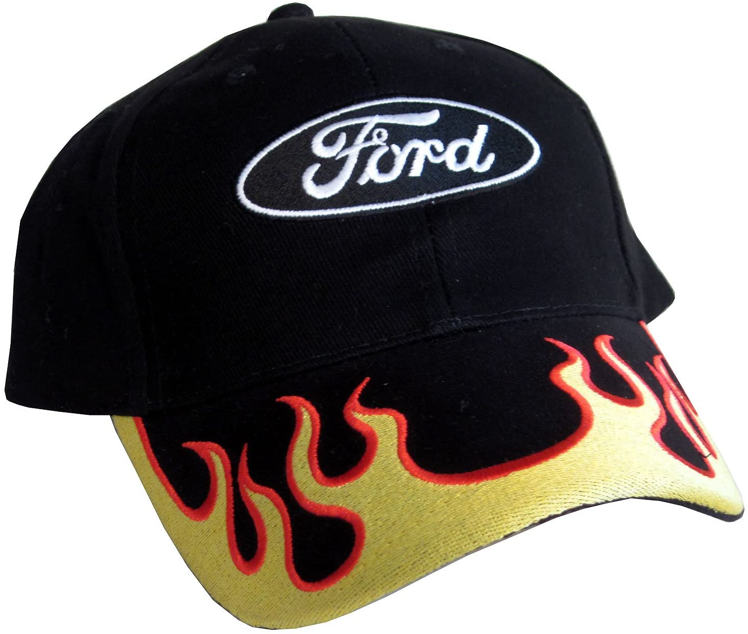 Gregs Automotive Oval Flames Logo Hat Cap Yellow/Orange Compatible with Ford - Bundle with Driving Style Decal
