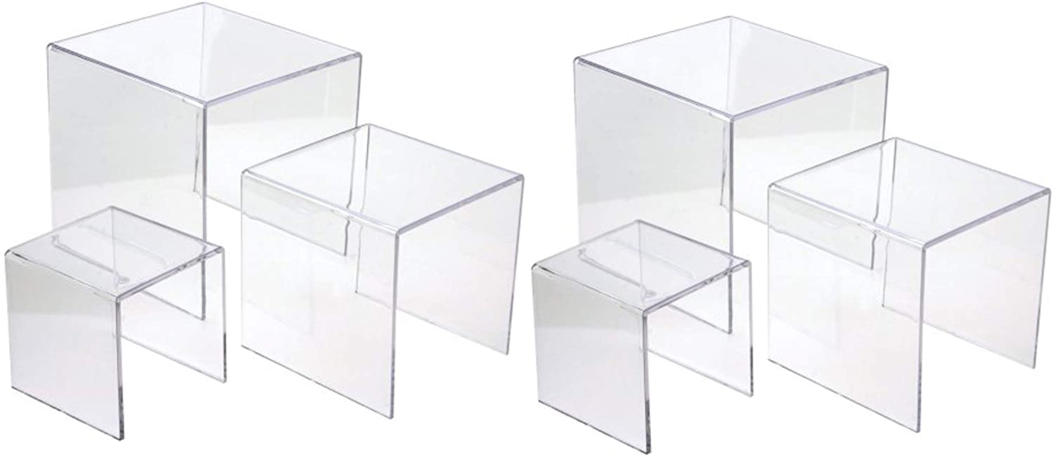Jusalpha 6-PC Clear Acrylic Display Riser Jewelry Showcase Fixtures, Food Display Stand, Toy Display Riser, Cupcake Stand.(5''x6''x7'', 2 Sets)