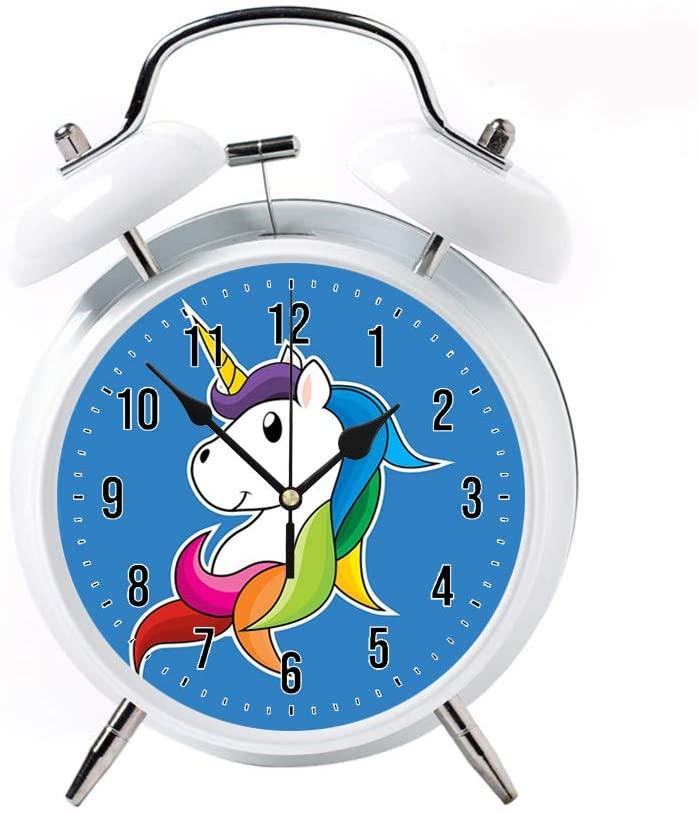 5 Colour Alarm Clock for Bedrooms Twin Bell Silent Desk Alarm Clock Loud Kids Cute Silent Movement Alarm Clock for Kids White Clock Color Unicorn