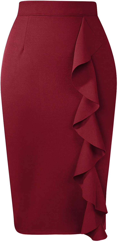 ANGGREK Womens Elegant Ruched Knee Length Pencil Skirts Slim Fit Business Skirt