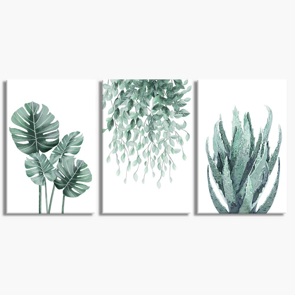 Green Canvas Wall Art for Living Room Bedroom, Monstera Shallow Green Leaf Tropical Succulent Plant Picture Canvas Prints,Modern Framed Minimalist Water Color Set of 3 Piece 16 X 24