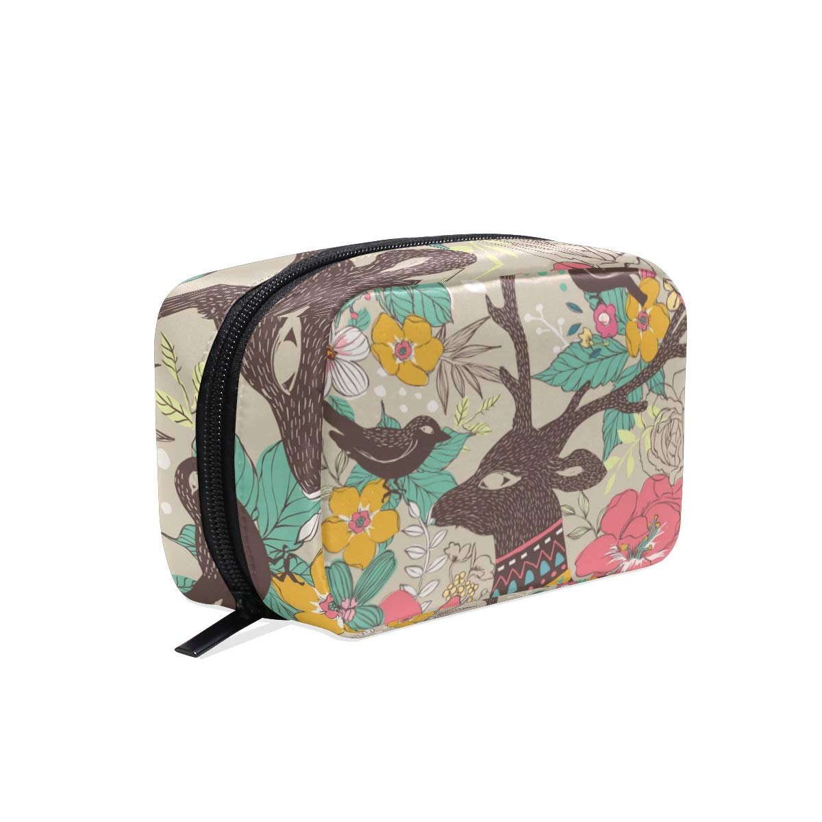 Makeup Bag Portable Travel Cosmetic Elegant Christmas Deer Train Case Toiletry Bag Organizer Accessories Case Tools Case for Beauty Women
