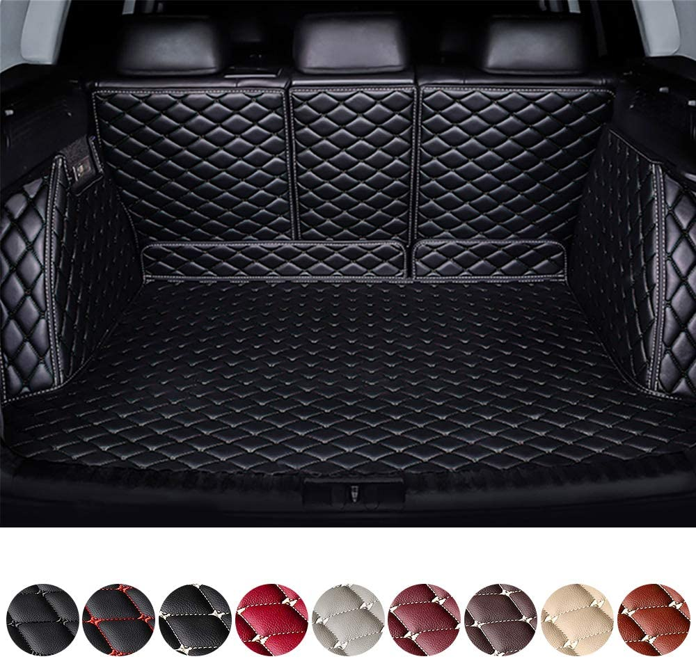 Customized Trunk Mat Floor Mat for Land Rover Discovery 2 3 4 Range Rover Car Full Coverage All Weather Trunk Protection Waterproof Cargo Mat Leather Liner Set Black