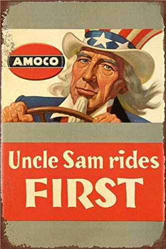 Oulili Uncle Sam Rides First Metal Tin Sign - 12