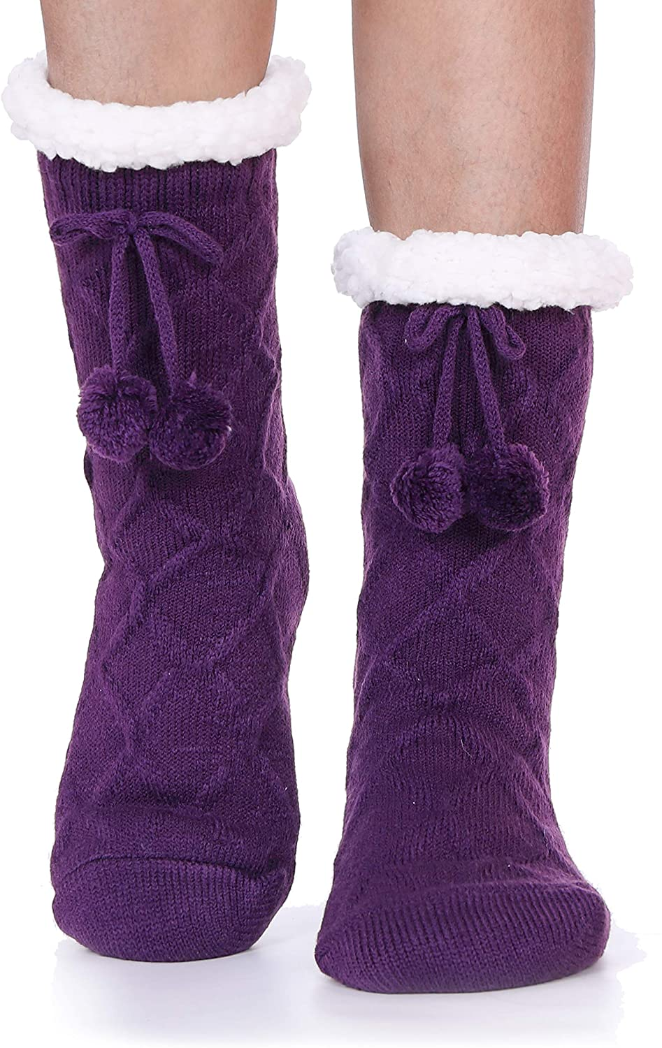 Womens Fuzzy Slipper Socks Knitting Warm Thick Heavy Fleece lined Christmas Stockings Fluffy Winter Socks With Grippers