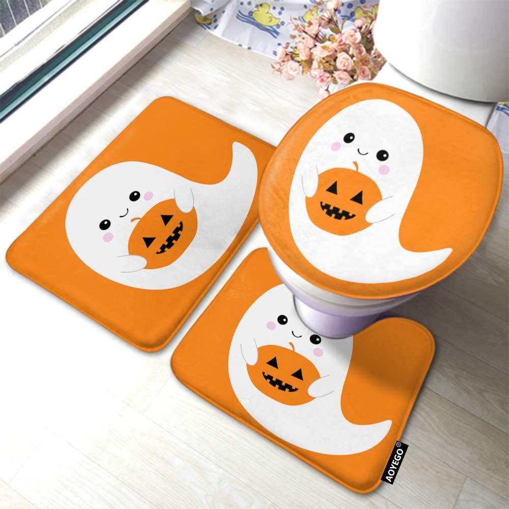 AOYEGO Ghost Bath Mat Set Halloween Skeleton Spirit Holding Pumpkin Boo Smile Face Bathroom Mat 3 Pieces Rug Toilet Seat Lid Cover Non Slip Mat Anti-Skid Pad
