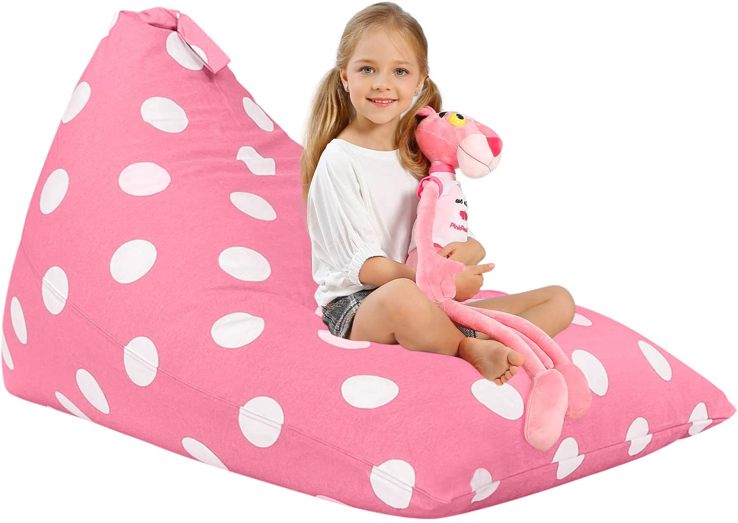 Aubliss Stuffed Animal Storage Bean Bag Chair Cover for Kids, Girls and Adults, Beanbag Cover Only, 23 Inch Long YKK Zipper, Premium Cotton Canvas, Xmas Gift Ideas(Light Pink dot)