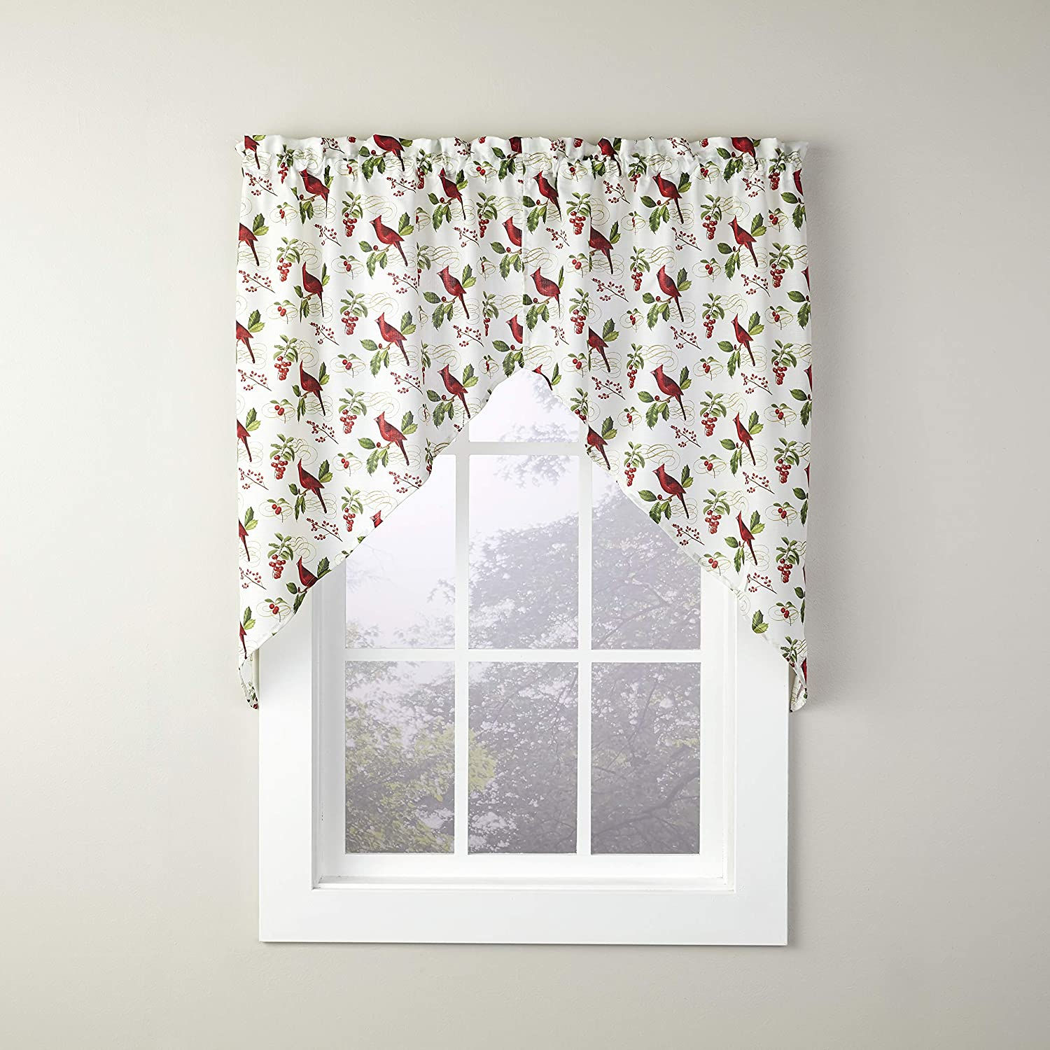 SKL Home by Saturday Knight Ltd. Cardinals & Berries Swage Valance Pair, 58 Inches x 36 Inches, Multicolored, 2 Pack