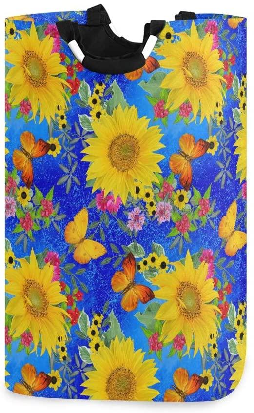senya Sunflower Laundry Hamper Clothes Hamper Large Capacity Basket with Handles for Storage Clothes Toys in Bedroom, Bathroom, Foldable Shoping Purse Bag(451)