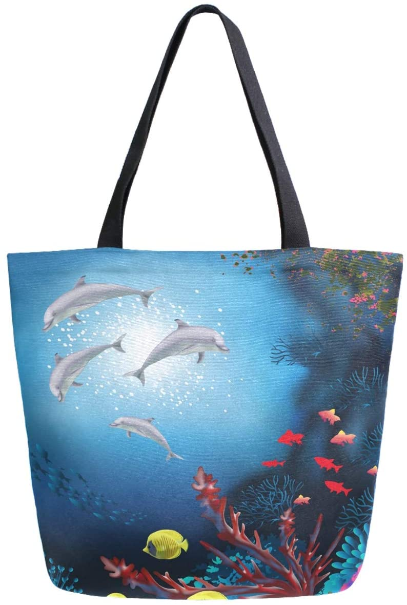 ZzWwR Beautiful Underwater Dolphins Family Fish Extra Large Canvas Shoulder Tote Top Storage Handle Bag for Gym Beach Weekender Travel Shopping