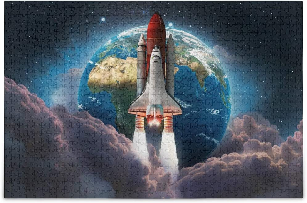 Jigsaw Puzzles 500 Pieces for Adults Kids Rocket Space Earth Galaxy Educational Fun Family Game 2021125