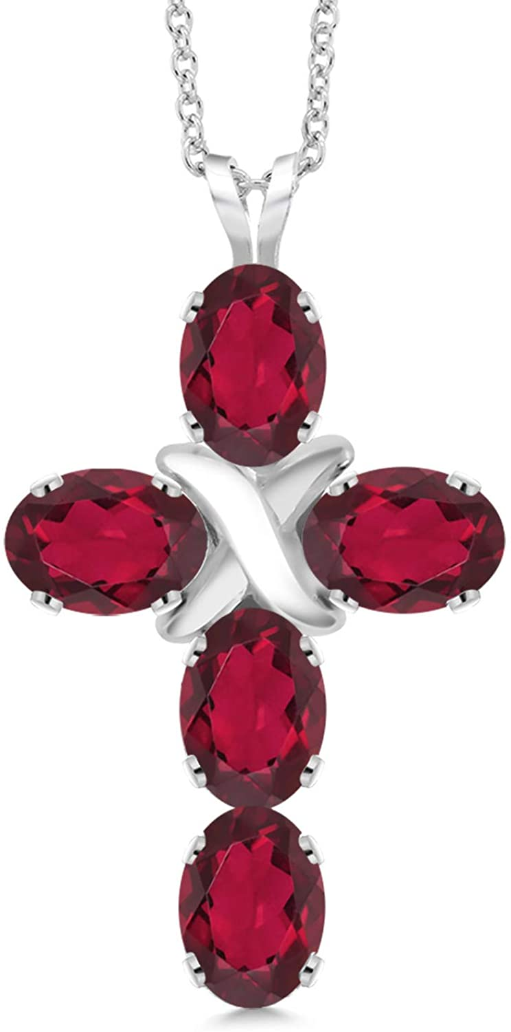 Gem Stone King 2.50 Ct Oval Red Mystic Topaz 925 Sterling Silver Cross Pendant With Chain