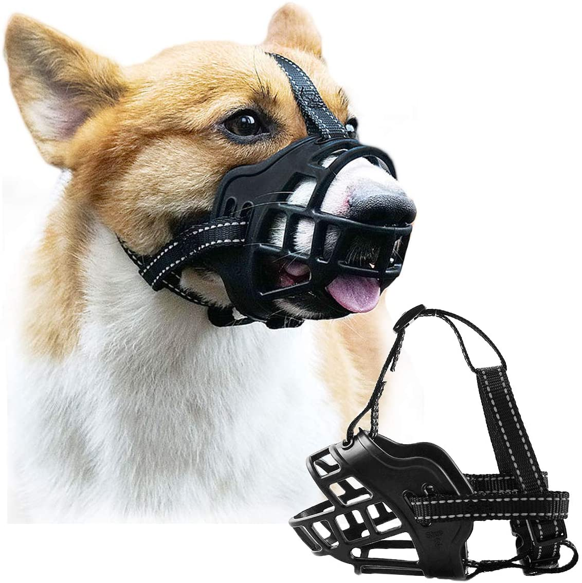 Mayerzon Dog Muzzle, Breathable Basket Silicone Dog Muzzle for Safety Walking Small Medium Large Dogs, Prevent Barking Biting and Chewing, Allow Drinking Panting